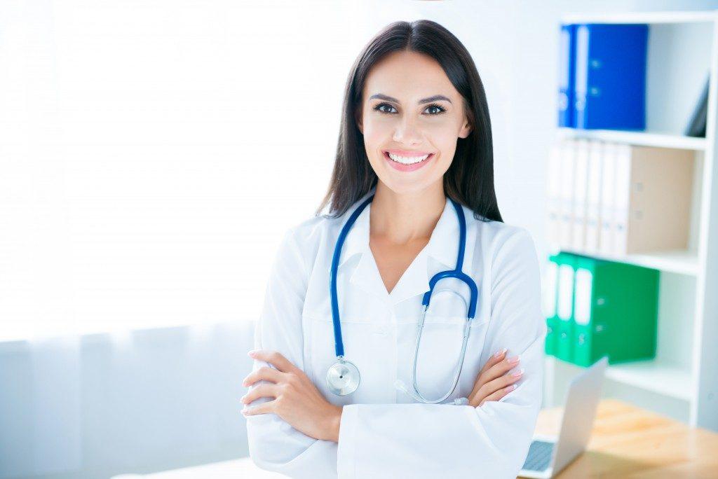 young female pediatrician