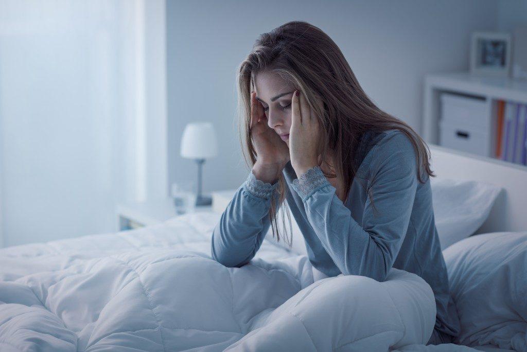 woman having problems sleeping