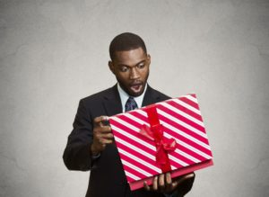 man receiving a gift