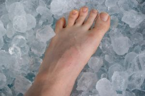 Sore ankle on ice
