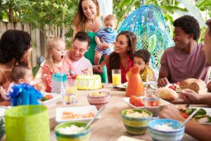 families at a kids party