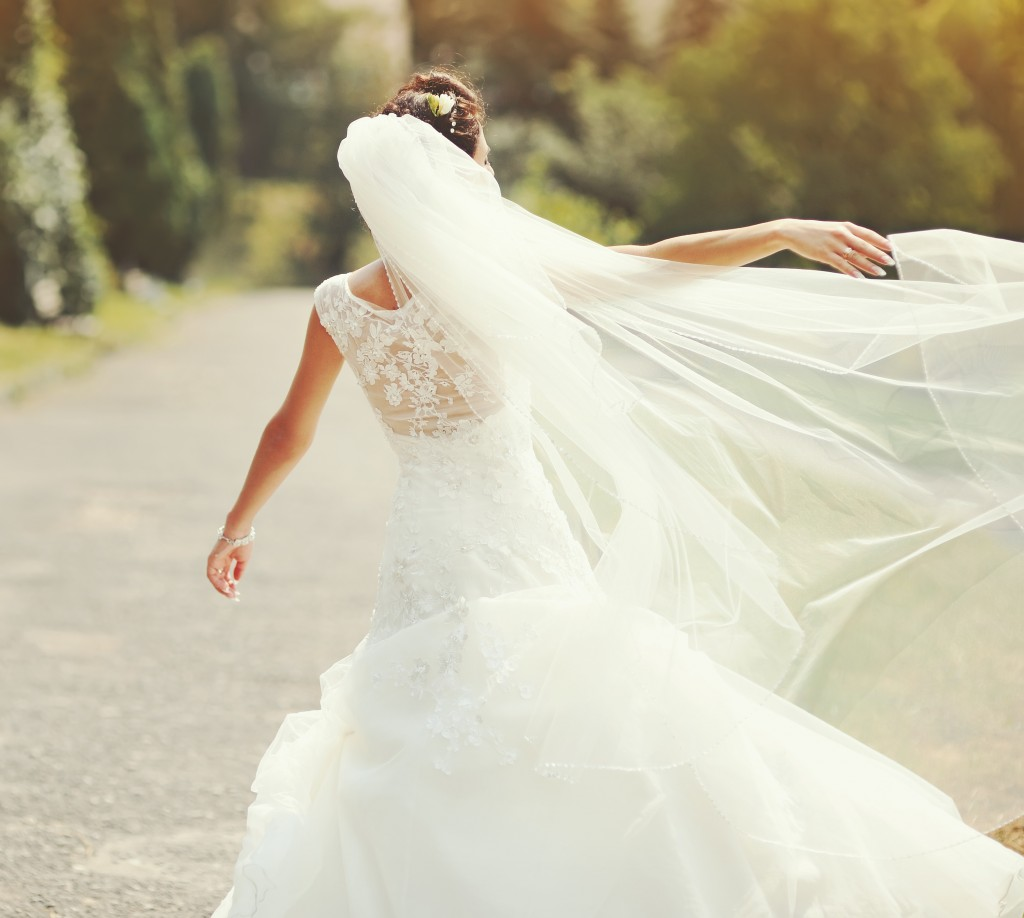 woman wearing her wedding dress