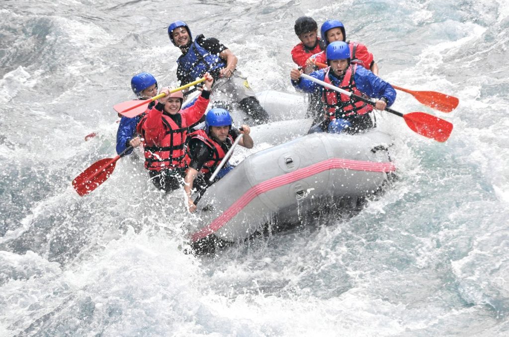 a group of people boating