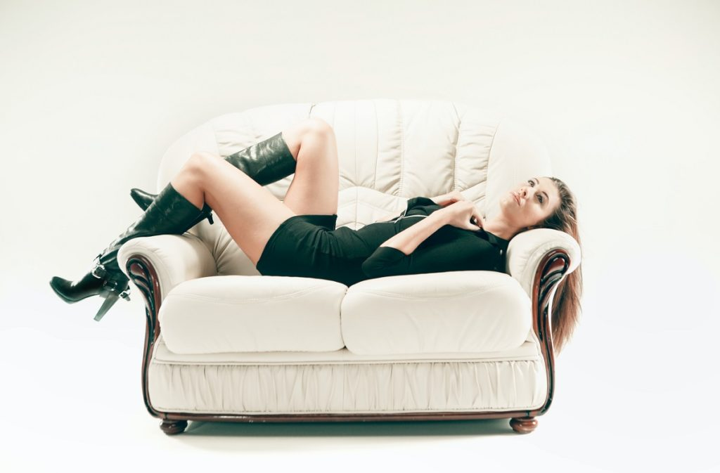 woman on a couch