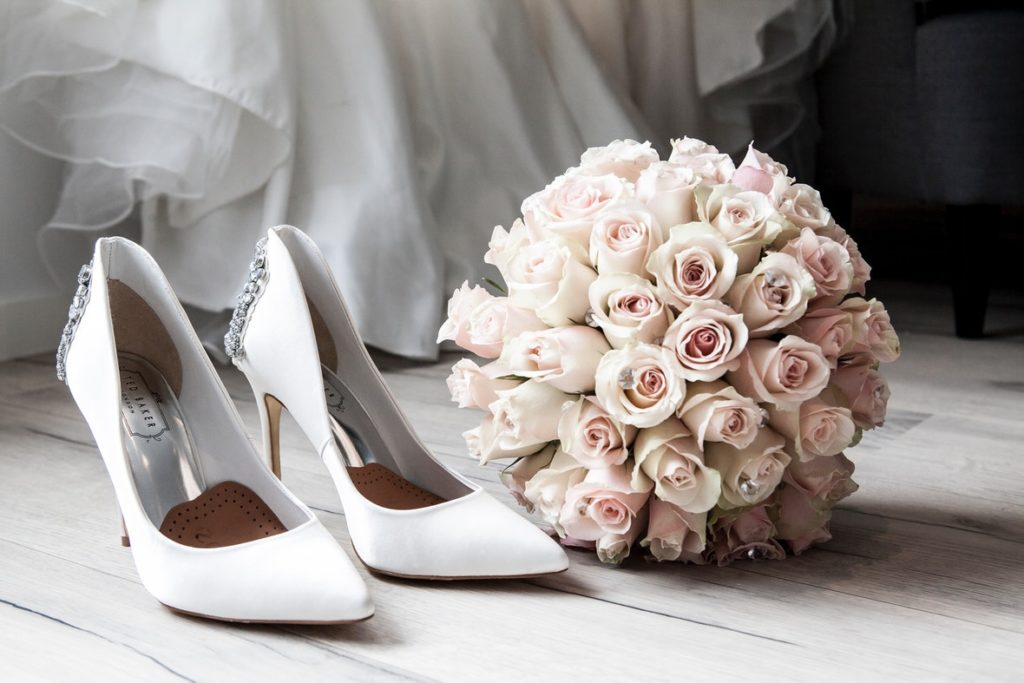 wedding dress, shoes and boquet