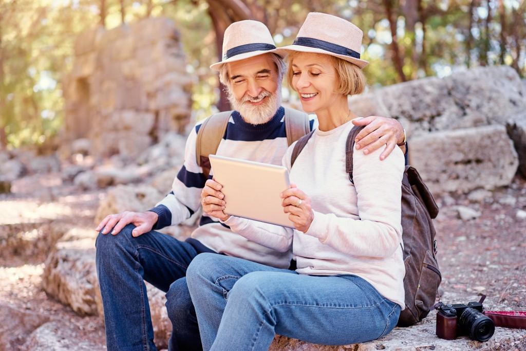 senior couple travelling