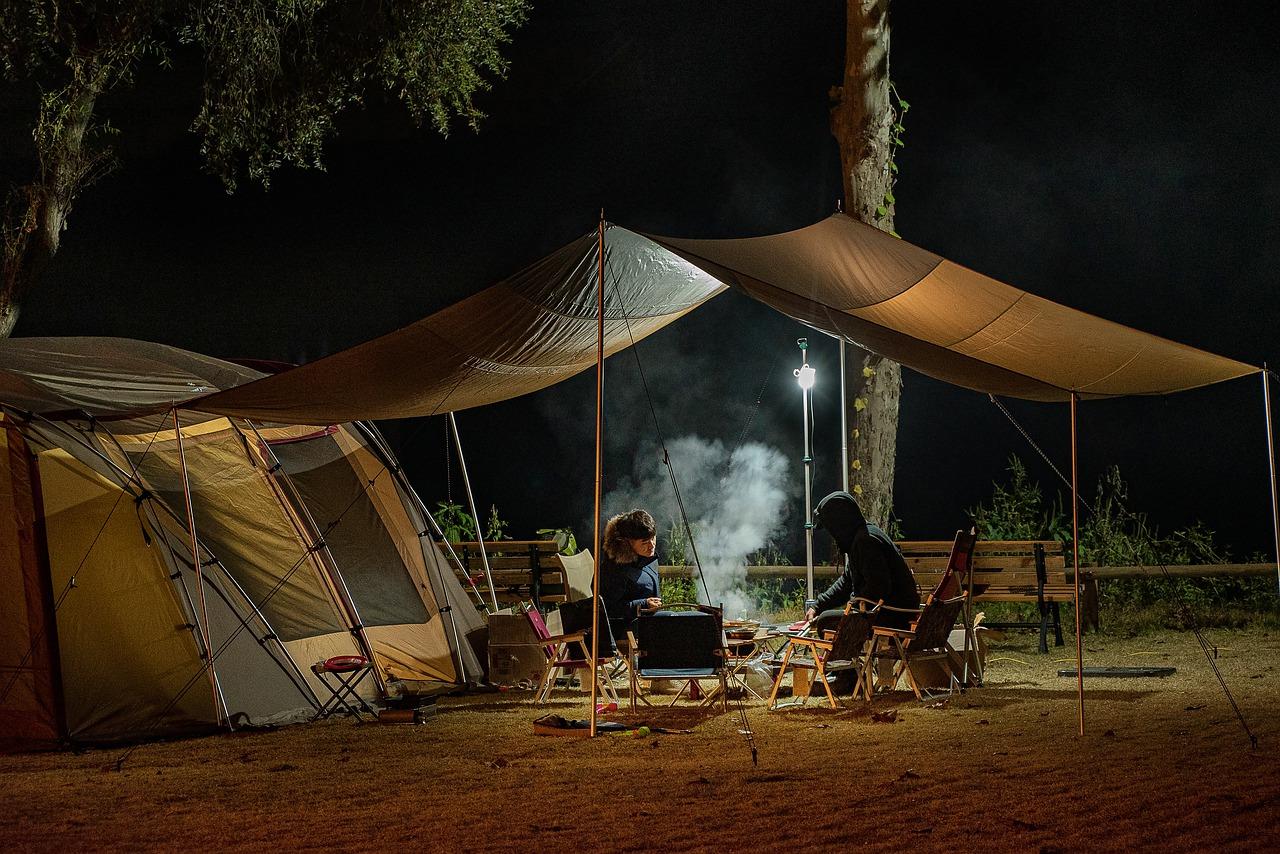 people camping at night